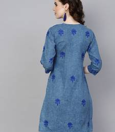 Navy-blue embroidered jute cotton chikankari-kurtis