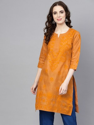Mustard embroidered jute cotton chikankari-kurtis