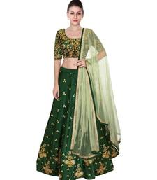 BANGLORY SATIN EMBROIDERED SEMI STICHED GREEN LEHENGA CHOLI