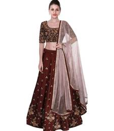 BANGLORY SATIN EMBROIDERED SEMI STICHED MARRON LEHENGA CHOLI