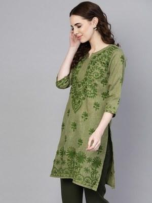 Light green embroidered jute cotton chikankari-kurtis