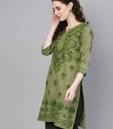 Light green embroidered jute cotton chikankari-kurtis