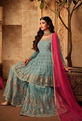 Sky-blue embroidered net salwar