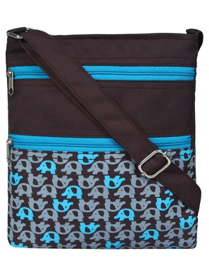 Feral Brown Grey & Blue Synthetic Sling Bag