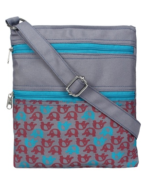 Grey Cherry & Blue Synthetic Sling Bag