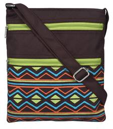 Geomat Brown and Green Synthetic Sling Bag