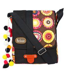 Fancy Black & Multicolour canvas Messenger Bag