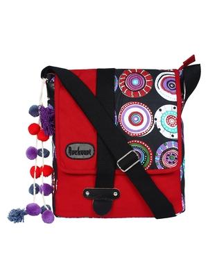 Fancy Red & Black canvas Messenger Bag