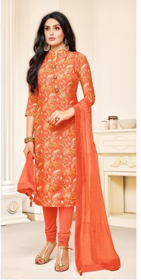 Orange digital print cotton salwar