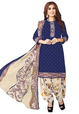 Women's Dark Blue & Beige Cotton Printed Unstitch Dress Material with Dupatta