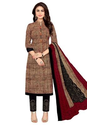 Women's Beige & Maroon Cotton Printed Unstitch Dress Material with Dupatta