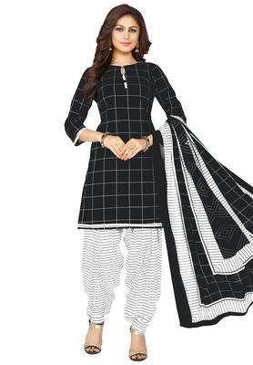 Women's Black & White Cotton Printed Unstitch Dress Material With Dupatta