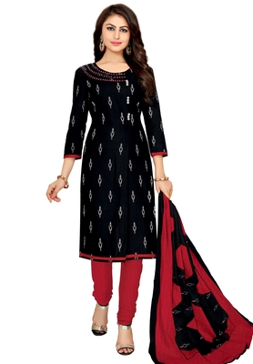 Women's Black & Red Cotton Printed Unstitch Dress Material with Dupatta