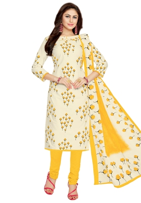 Women's Off White & Yellow Cotton Printed Unstitch Dress Material with Dupatta