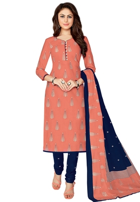Women's Peach & Navy Blue Cotton Printed Unstitch Dress Material with Dupatta