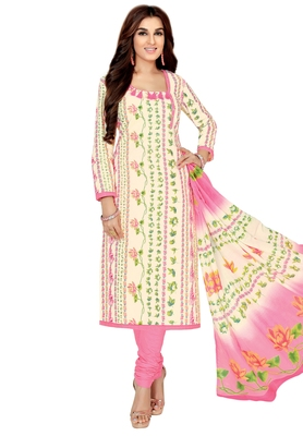 Women's Cream & Light Pink Cotton Printed Unstitch Dress Material with Dupatta