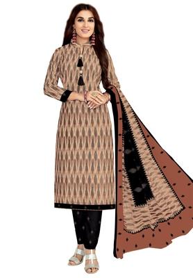 Women's Beige & Black Cotton Printed Unstitch Dress Material with Dupatta