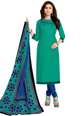 Women's Green & Blue Cotton Printed Unstitch Dress Material with Dupatta