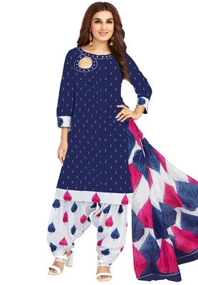 Women's Dark Blue & White Cotton Printed Unstitch Dress Material With Dupatta
