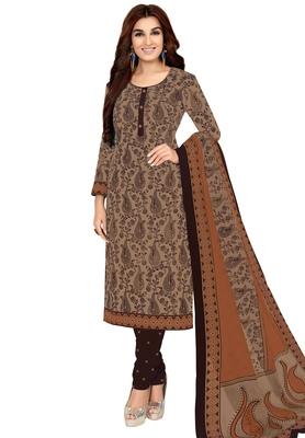 Women's Beige & Brown Cotton Printed Unstitch Dress Material with Dupatta