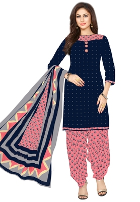 Women's Navy Blue & Pink Cotton Printed Unstitch Dress Material With Dupatta