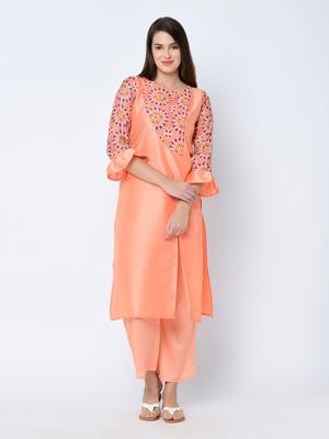 Women's Peach Digital Print Straight Art Silk Kurta