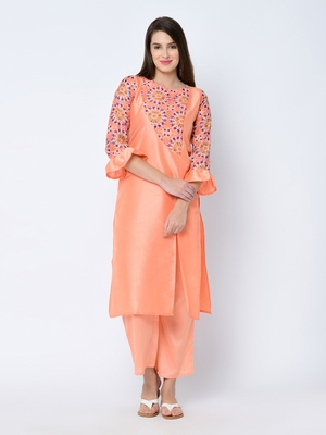 Women's Peach Digital Print Straight Art Silk Kurta Palazzo Set