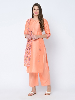 Women's Peach Digital Print Straight Art Silk Kurta