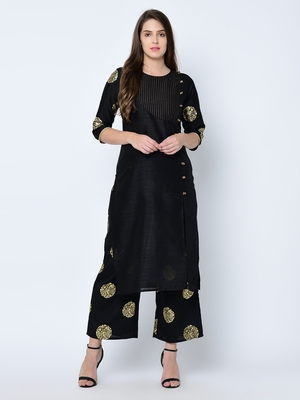 Women's Black Foil Print Straight Art Silk Kurta