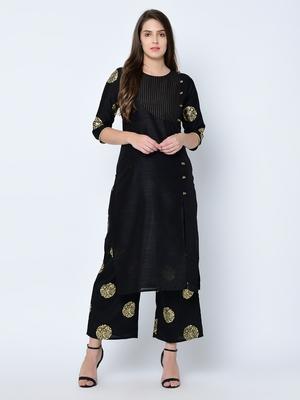 Women's Black Foil Print Straight Art Silk Kurta Palazzo Set