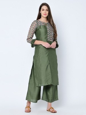 Women's Green Digital Print  Straight Art Silk Kurta