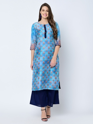 Women's Blue Digital Print  Straight Art Silk Kurta Palazzo Set