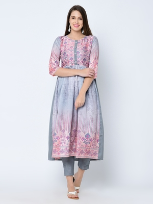 Women's Grey Digital Print A-Line Art Silk Kurta