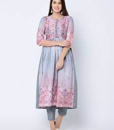 Women's Grey Digital Print A-Line Art Silk Kurta Pant Set