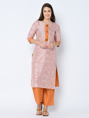 Women's Cream Digital Print Straight Art Silk Kurta