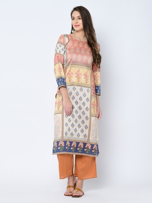 Women's Brown Digital Print Straight Art Silk Kurta