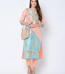 Women's Peach Digital Print Straight Art Silk Kurta Pant Set