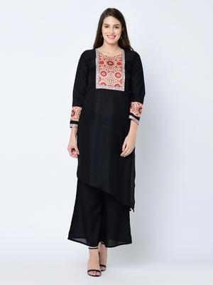 Women's Black Solid Asymmetric Art Silk Kurta Palazzo Set