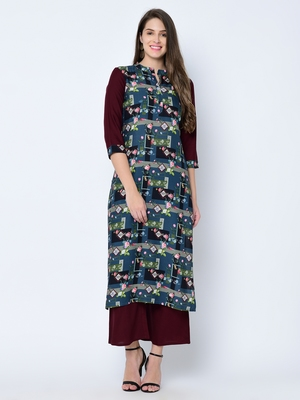 Women's Maroon Digital Print Straight Rayon Kurta
