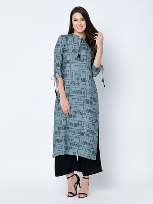 Women's Grey Digital Print Straight Rayon Kurta Pant Set