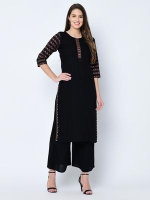 Women's Black Solid Straight Rayon Kurta