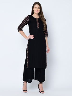 Women's Black Solid Straight Rayon Kurta Palazzo Set
