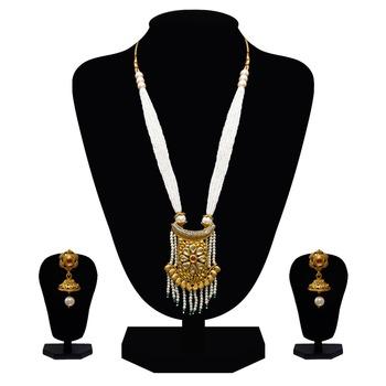 Elegant pearl necklace set with jhumki