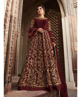 maroon embroidered SILK semi stitched salwar with dupatta
