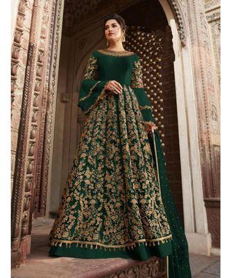 green embroidered SILK semi stitched salwar with dupatta