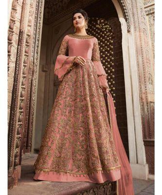 pink embroidered SILK semi stitched salwar with dupatta