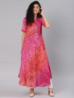 Pink printed chiffon cotton-kurtis