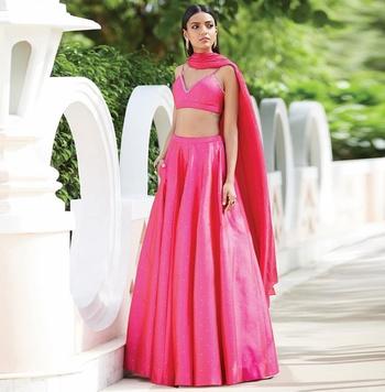 Pink Moti Silk Semi Stitched Lehenga