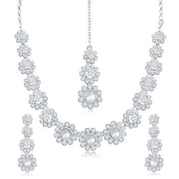 Silver diamond necklace-sets