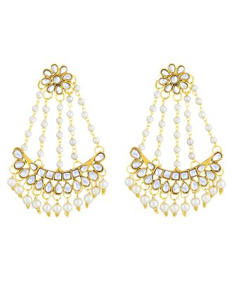 Asmitta Classy White Kundan Gold Plated Dangle Earring For Women